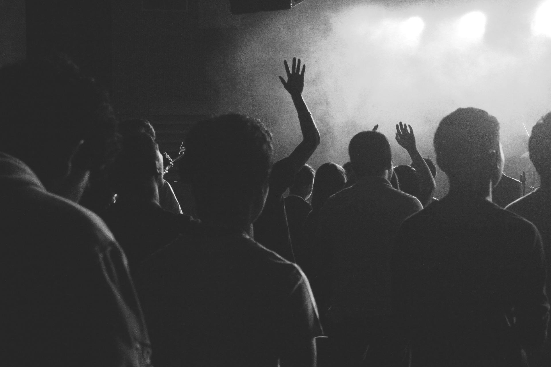 Foule à un concert jeunes adultes